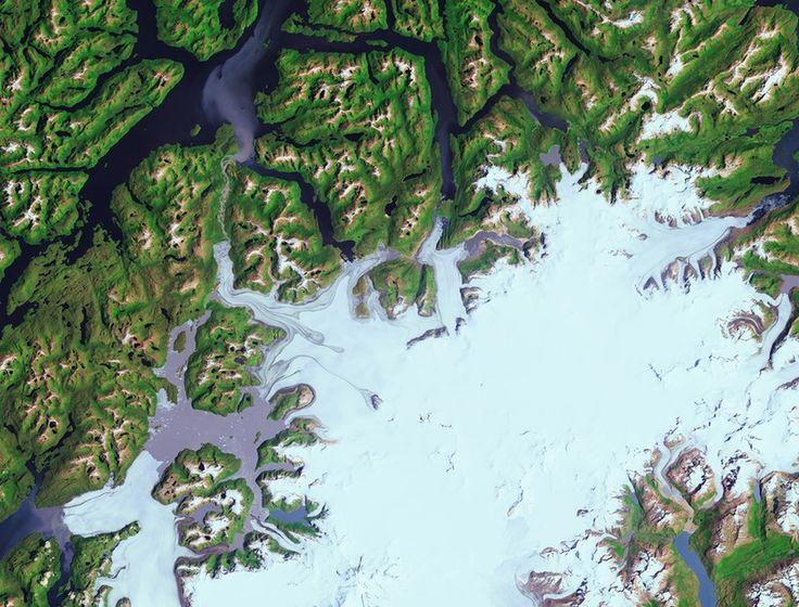 Part of Chile's Bernardo O'Higgins National Park is captured in this satellite image. The park