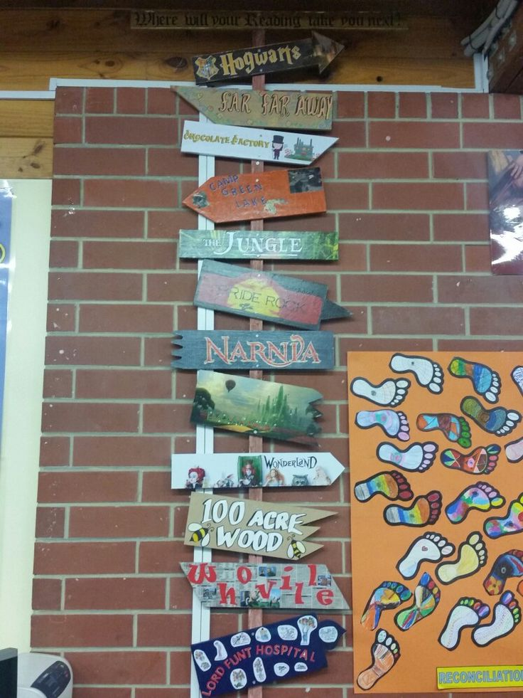 Where will your reading take you? School project Book Week 2017.  All classes created their own destination signs of their choice.