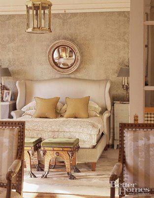 Convex mirror above the headboard: Interior Design, Decor, Idea, Wingback Headboard, Headboards, Dream, Master Bedroom, Bedrooms, Furniture