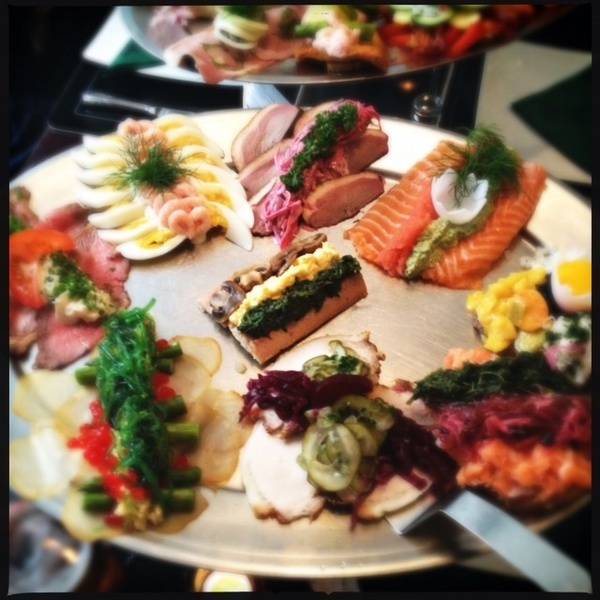 Smrrebrd Platter (Danish open sandwich)  at Ida Davidsen, Copenhagen -she has had a major influence on the Danish food history and food habits. She is a very well known and loved lady who still works in her kitchen despite her older age. She says: it keeps me young and I will not stop until I die. I love this woman
