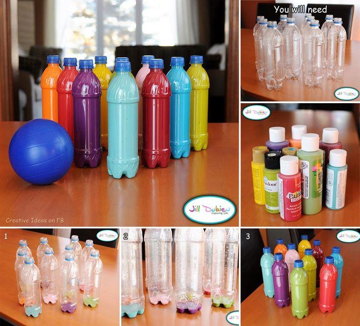 Van leggen flessen een leuke bowling set maken, je kan dat dus ook gemakkelijk samen met de kinderen doen zowel de flessen verven als samen gaan bowlen