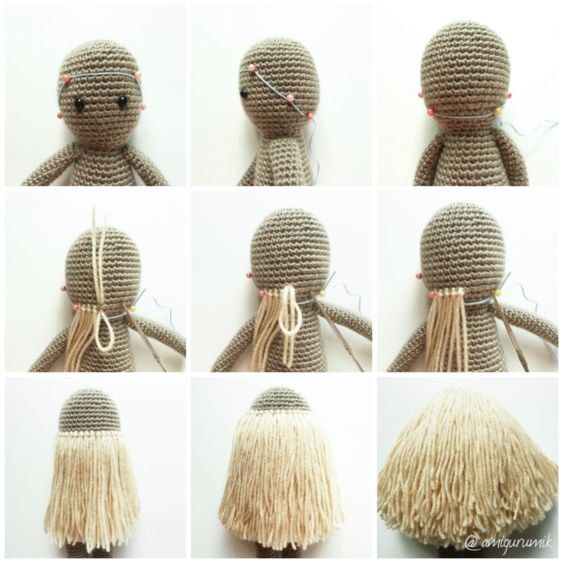 cheveux de poupée au crochet (tutoriel gratuit – DIY