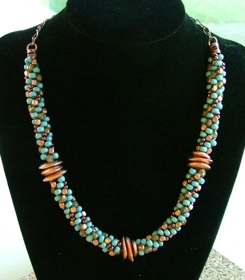 Copper Canyon – beaded kumihimo necklace