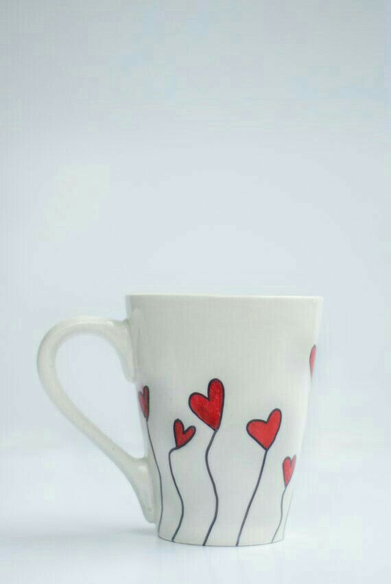 cute white mug with heart design drawn all around it handwash only inches tall inches photo by - Mug Design Ideas