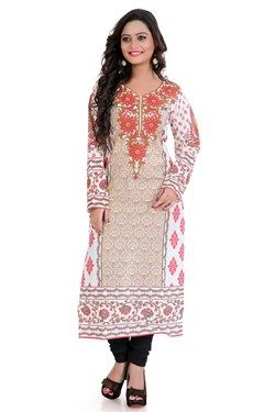 Kurtis,Admyrin,Off-white and Beige Cambric Cotton Kurti