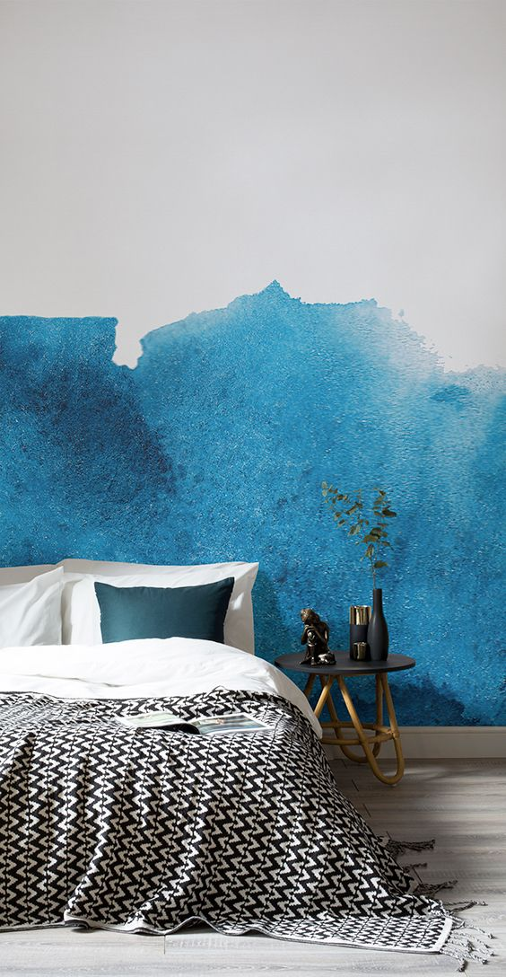 Sink into a bedroom drenched with colour and life! This blue watercolour wallpaper design is brimming with texture and character. Adding an artistic vibe to your walls and looks fantastic in calming bedroom spaces.
