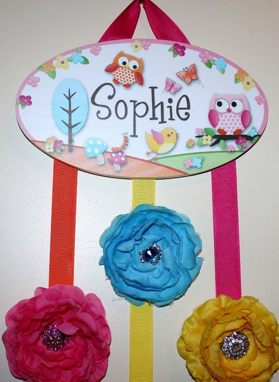 HAIR BOW HOLDER - Personalized Owls Love Birdies HairBow Holder - Bows and Clippies Organizer - Girls Personal Hair Bow and Clip Hanger