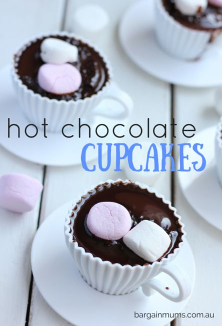 These HOT CHOCOLATE CUPCAKES are super easy to make, and so much fun to dig into with a spoon http://bargainmums.com.au/hot-chocolate-cupcakes