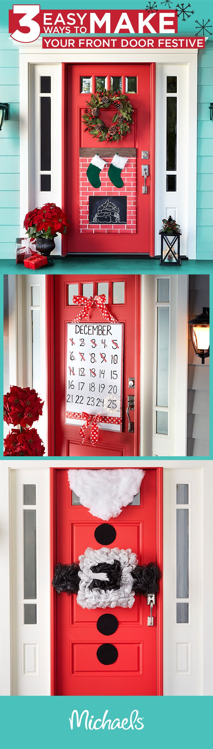 Welcome holiday guests with festive door décor. You can make these fun and whimsical decorations in just a few simple steps. For more inpsiration and ideas, visit Michaels.com