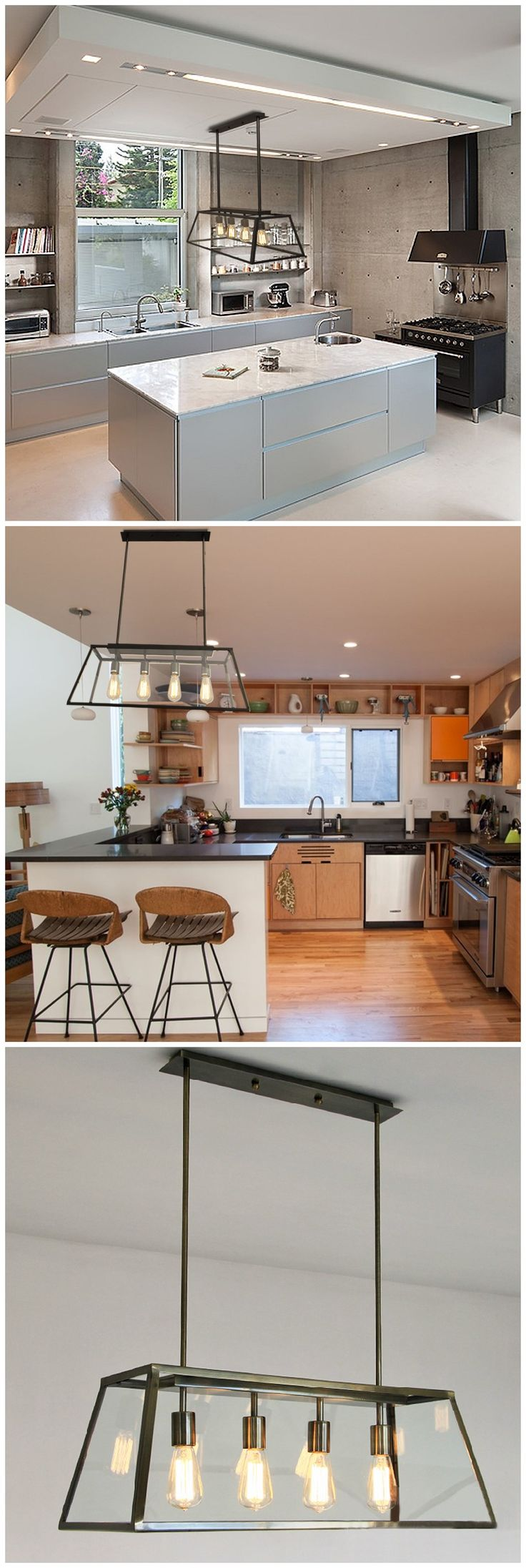 Rectangle Metal and Glass Chandelier: Clean and sleek with an industrial edge http://www.zosomart.com/home-living/lamps-lighting/restoration-new-industrial-vintage-pendant-light-chandelier-glass-w-led-bulbs.html