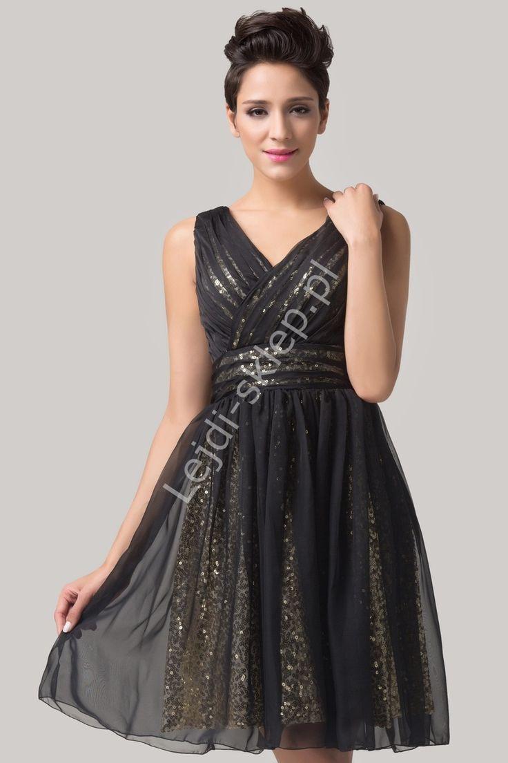 Czarna sukienka ze złotymi cekinami / sukienka na studniówkę, sylwestra, karnawał