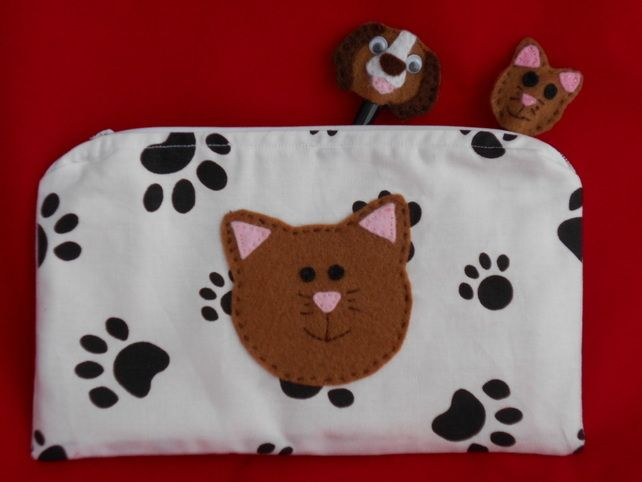 Paw Print Pencil case with Applique brown CAT - cute £8.50