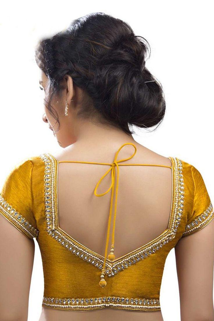 Mustard #yellow embroidered festive wear raw #silk #blouse -BL615