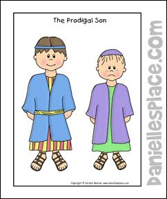 Luke 15: Three Parables; Parable of the Prodigal Son Puppet Craft (Cut out the two brothers & glue them  to craft sticks)