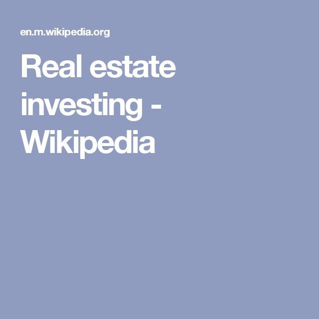 Real estate investing - Wikipedia