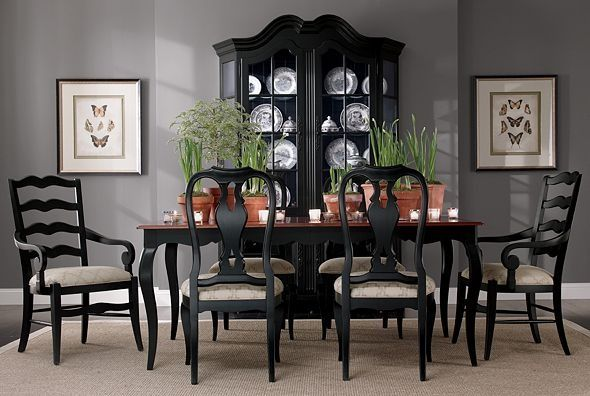 images of dining room gray chairs | Love the black dining room furniture with the grey ... | Decor Dreams