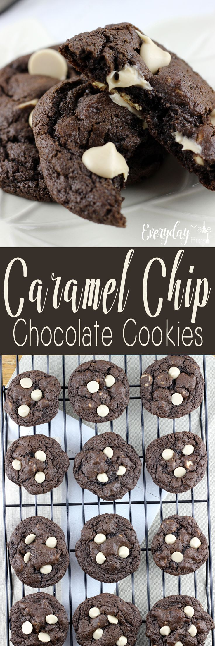 Fudgy, chewy, and with the perfect caramel touch - These Caramel Chip Chocolate Cookies are perfect in every way! | EverydayMadeFresh.com http://www.everydaymadefresh.com/caramel-chip-chocolate-cookies/