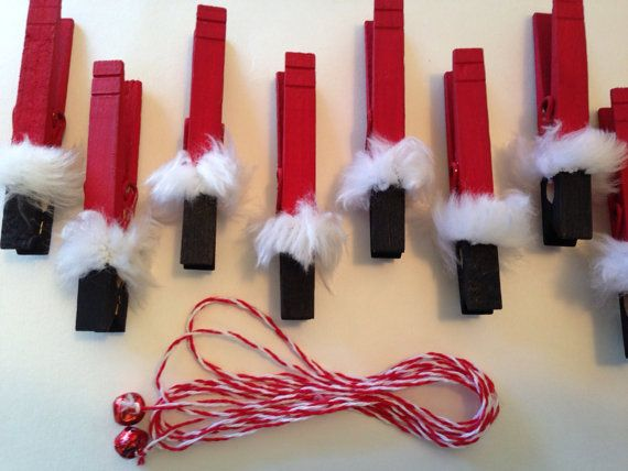 Santa Clothespin Christmas Card Holder 10 by LittleHouseofDetails, $15.00