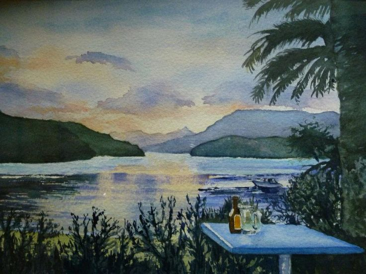 Sunset at the Portage.  Watercolour by Annette Straugheir.  www.straugheirart.co.nz