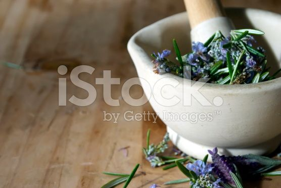 Natural Health Background; Herbs in Pestle and Mortar royalty-free stock photo