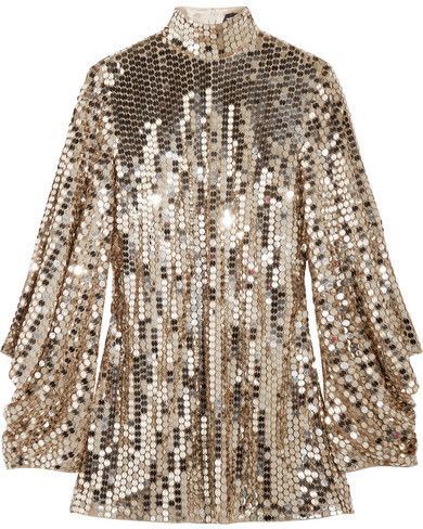 TOM FORD - Open-back Sequined Tulle Top - Gold