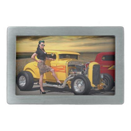 Sunset Graffiti Hot Rod Coupe Pin Up Car Girl Rectangular Belt Buckle - girl gifts special unique diy gift idea