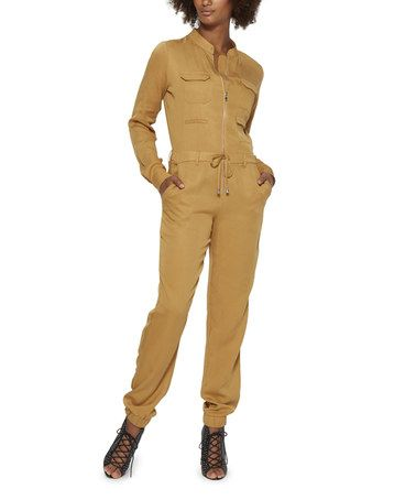 Look what I found on #zulily! Camel Zip-Up Jumpsuit #zulilyfinds