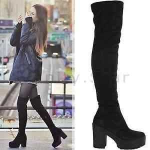 WOMENS-LADIES-THIGH-HIGH-OVER-THE-KNEE-CHUNKY-PLATFORM-HEEL-STRETCH-BOOTS-SIZE