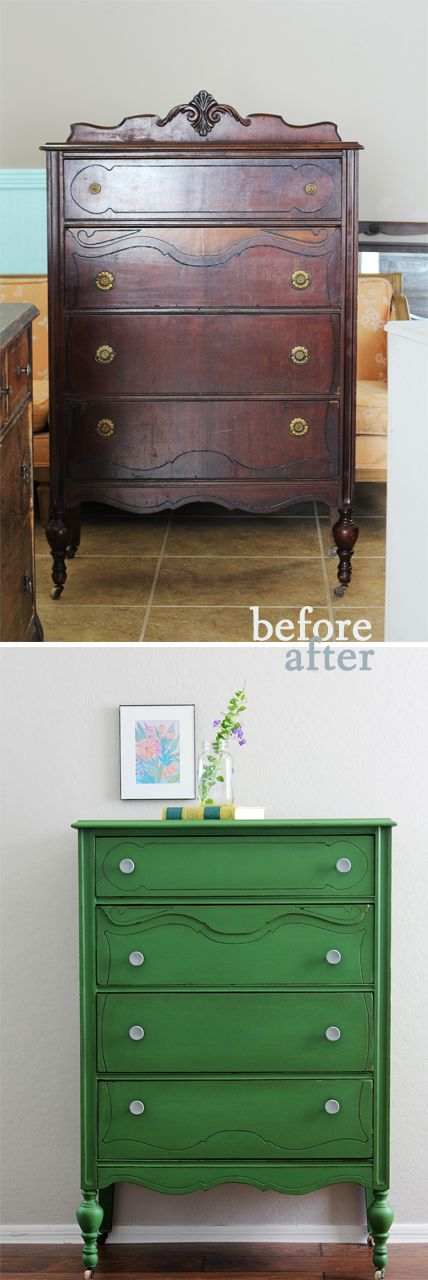 Antique Dresser Makeover - Love the Kelly Green paint