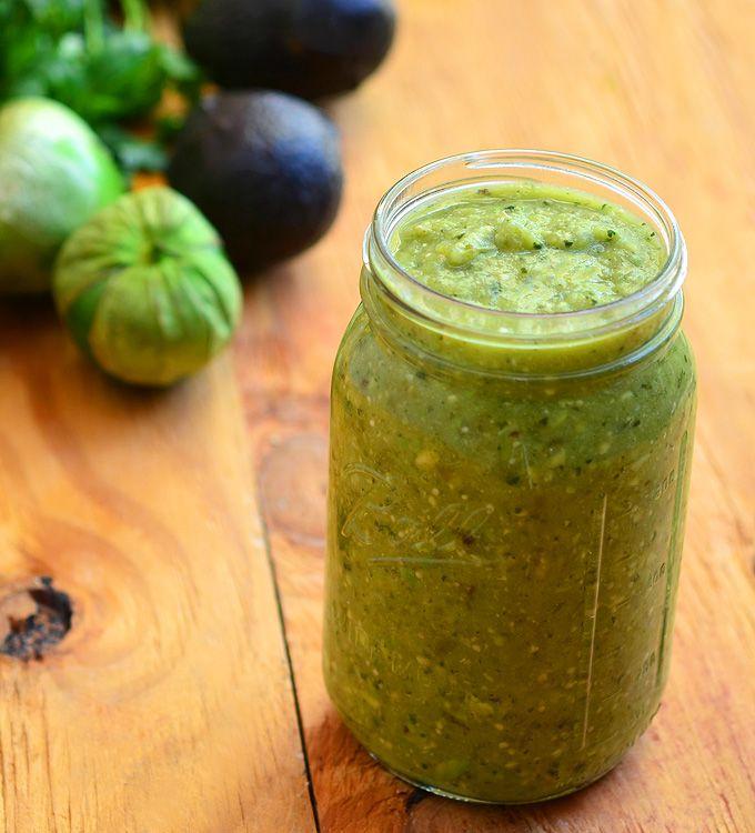 Avocado Tomatillo Salsa #salsaverde #avocadosalsa