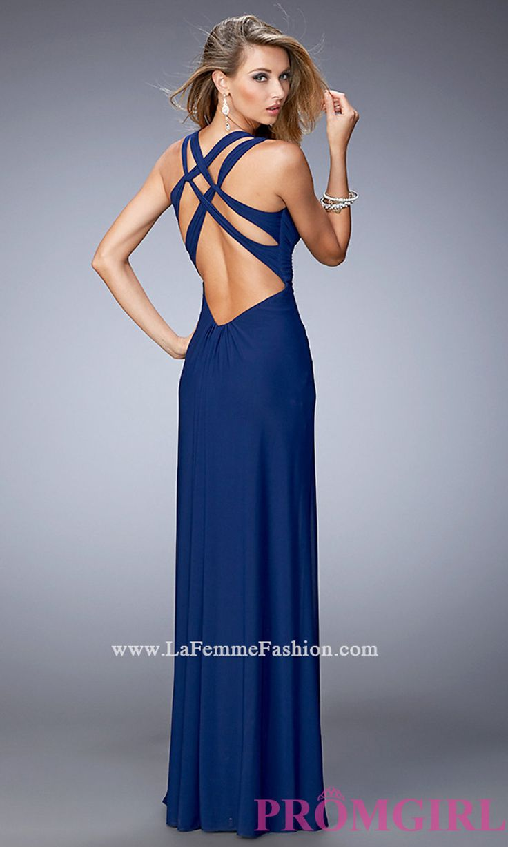 Long Open Back V-Neck Prom Dress by La Femme LF-21976 ...