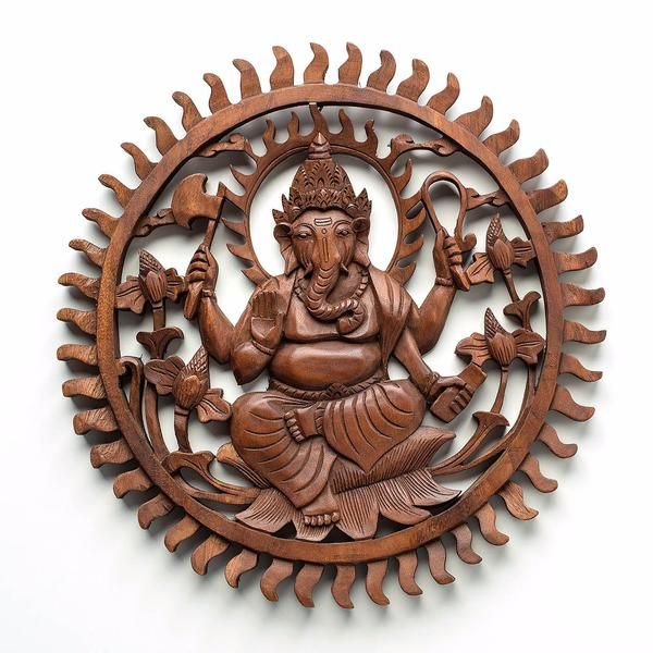 Divine Ganesha Aura - Handcrafted wood relief panel from Bali. Spiritual decoration for unique places... Divine power of Lord Ganesha creates a positive aura in your home & office. #art #bali #balinese #handcrafted #decoration #decorativeart #dekor #elyapımı #woodart #zanaat #ganesha
