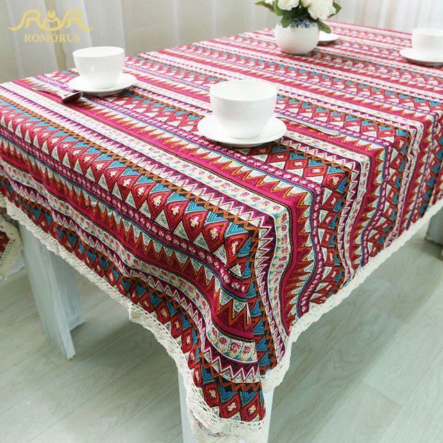Bohême Style Décoratif Table De Fête Tissu Lin Coton Rectangulaire Dentelle Bord Nappes Rayures Imprimé Antipoussière Table Couvre