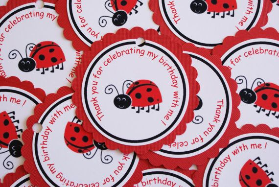 Lady Bug Birthday Favor Tags  Thank you Tags   by WittyWiseOwl, $5.75