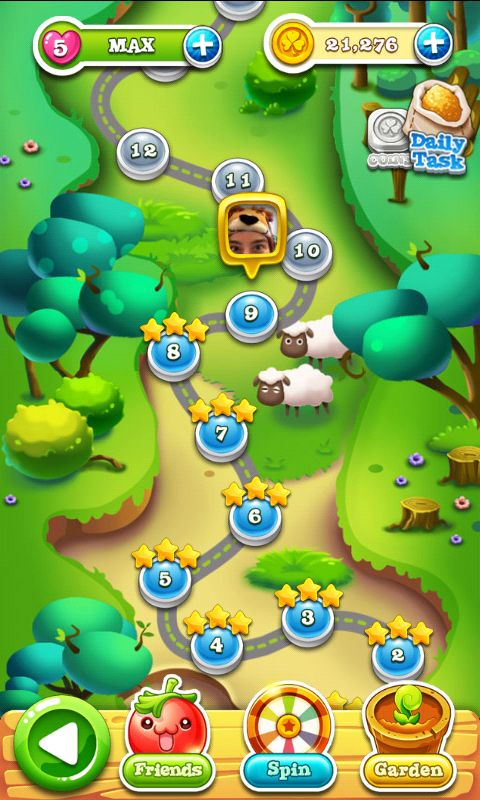 Garden Mania 2 by Ezjoy - Map Screen  - Match 3 Game - iOS Game - Android Game - UI - Game Interface - Game HUD - Game Art