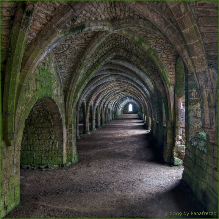 Cellarium at Fountains Abbey ,North Yorkshire, England.