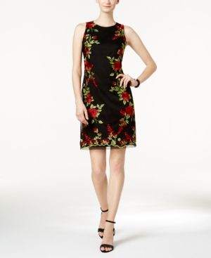 Donna Ricco Floral-Embroidered Mesh Dress - Black 12