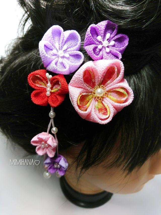 7ef9af9725445d 再販♡ #31#ピンク×紫 赤の蝶々がついたつまみ細工髪飾り | 和装髪型 ...