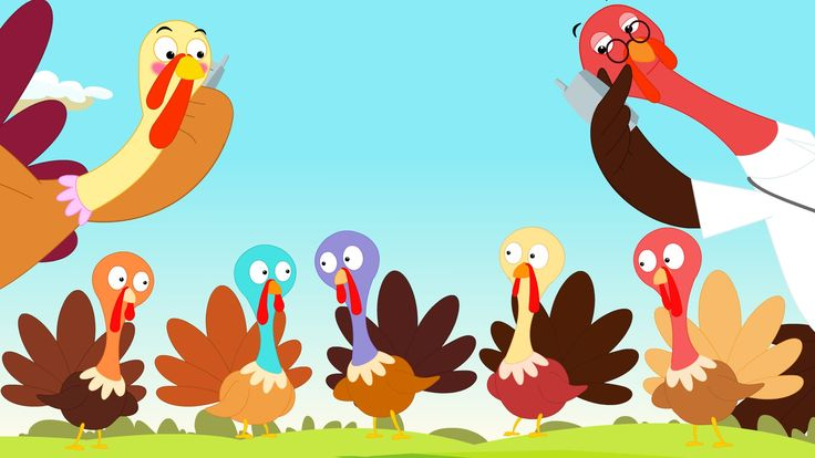 5 little turkeys standing by the door, One waddled off, and then there were 4. Mama called the doctor and the doctor said No more turkeys standing by the doo...