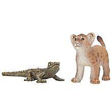 Schleich Lion Cub and Alligator Baby.