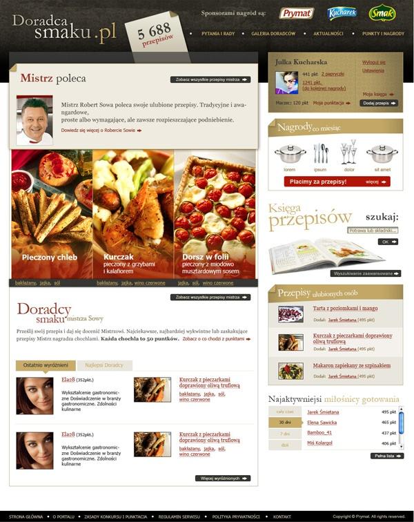 Doradca Smaku - recipes social portal on the Behance Network: Recipes Social,  Internet Site,  Website, Web Site