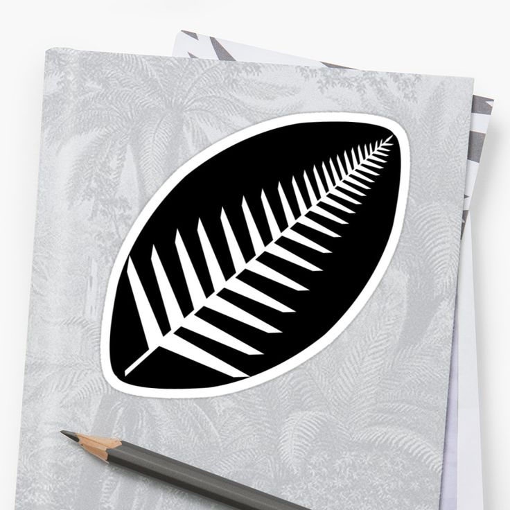 NZ Rugby Sticker by Fimbis  New Zealand, All Blacks, fern, black and white, monochrome, Maori, haka, fashion, style,
