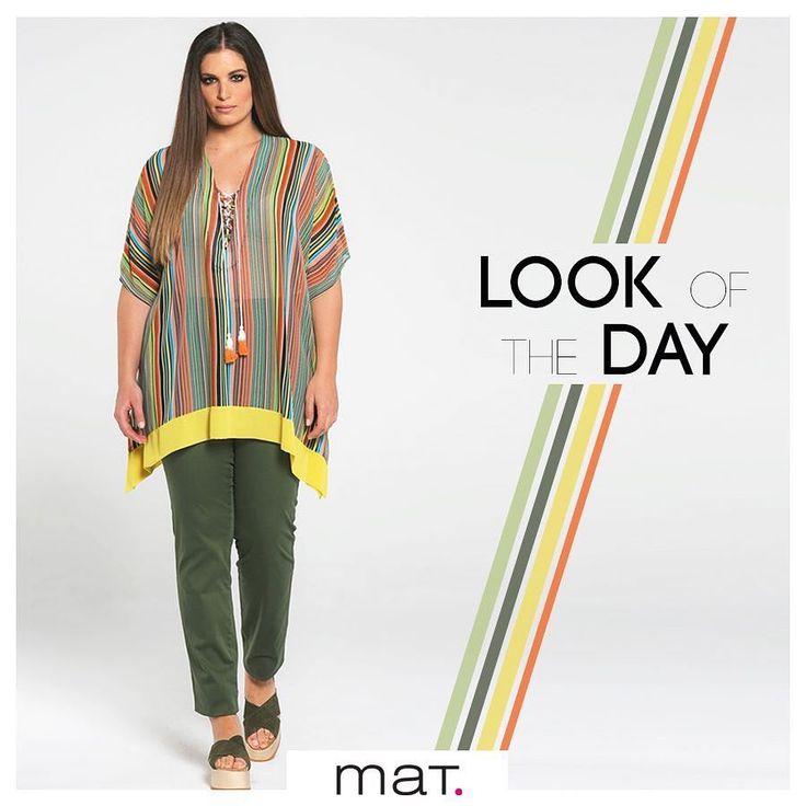 Αγαπάμε τις εντυπωσιακές ρίγες σε καλοκαιρινά χρώματα! Φόρεσέ τες με αυτήν την αέρινη μπλούζα με το παιχνιδιάρικο δέσιμο και συνδύασε την με βαμβακερό απαλό cigarette παντελόνι σε χακί, που φέτος απειλεί την πρωτοκαθεδρία των τζιν στα casual looks! Aγόρασε την μπλούζα ➲ code: 671.1393 Αγόρασε το παντελόνι ➲ code: 676.2119 #matfashion #colorful #realsize #collection #psblogger #ootd #style #stylehasnosize #plussizefashion