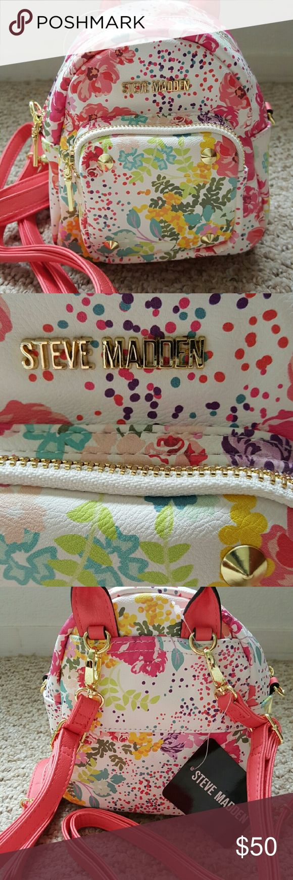 "NWT Steve Madden  Floral Mini Backpack Fully reversible from backpack to bag.. Zippered front pocket and interior. 7"" long, 6.5"" tall and 4.5"" deep Steve Madden Bags"