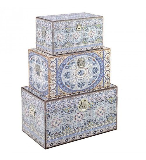 S_3 WOODEN_CANVAS TRUNK W_BLUE DESIGN 65X38X35