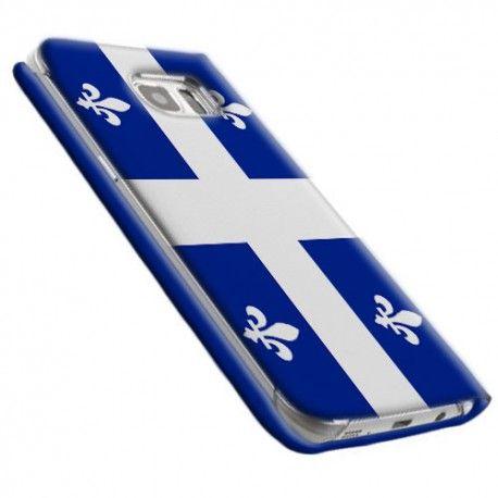 #Etui #Flip #Samsungs7 #drapeau du #Québec. Protection a rabat portefeuille.