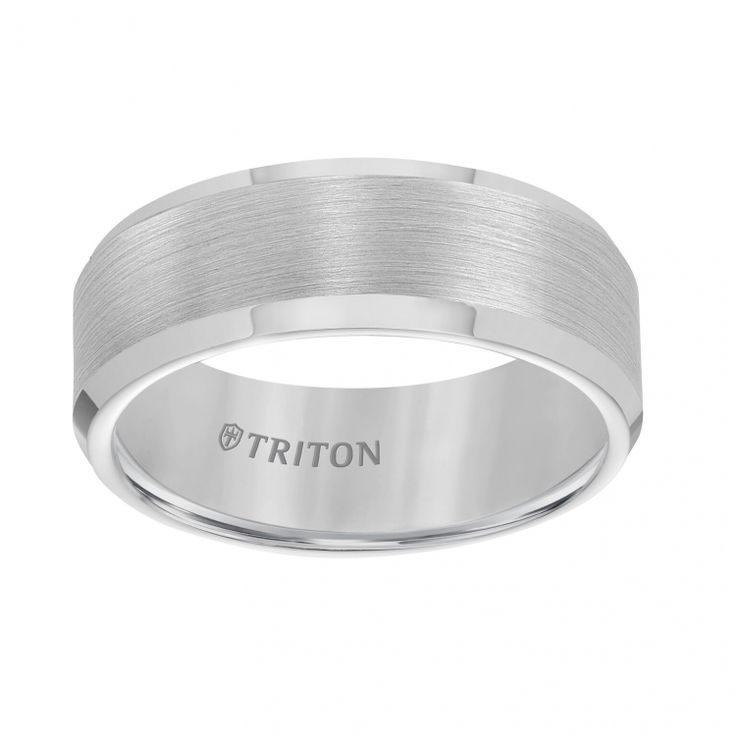 8mm Bevel Edge Tungsten Carbide Comfort Fit Band with Satin Finish Center and Bright Polished Edge | ShopTJC.com