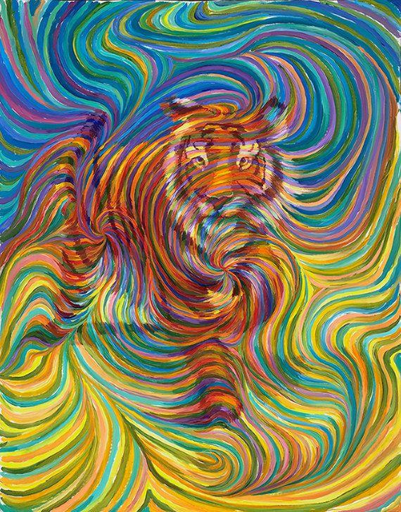 Pintura metafísica del Totem de tigre por energyjewelrystore