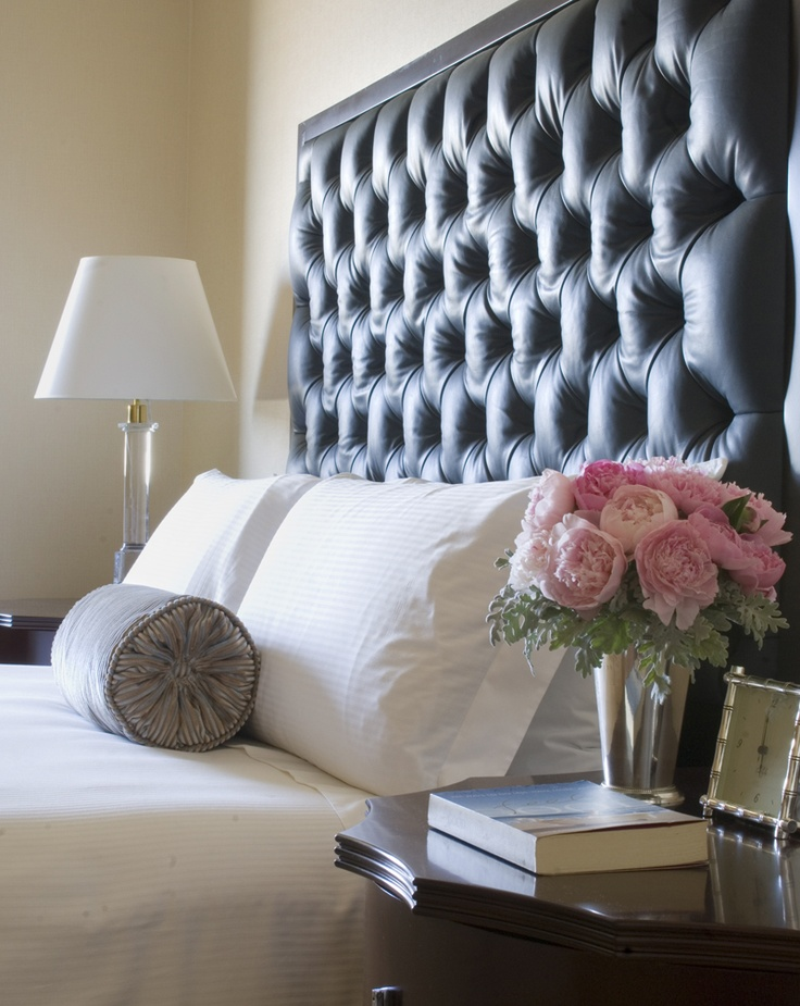 Leather Headboard Softened By Pink Flowers!