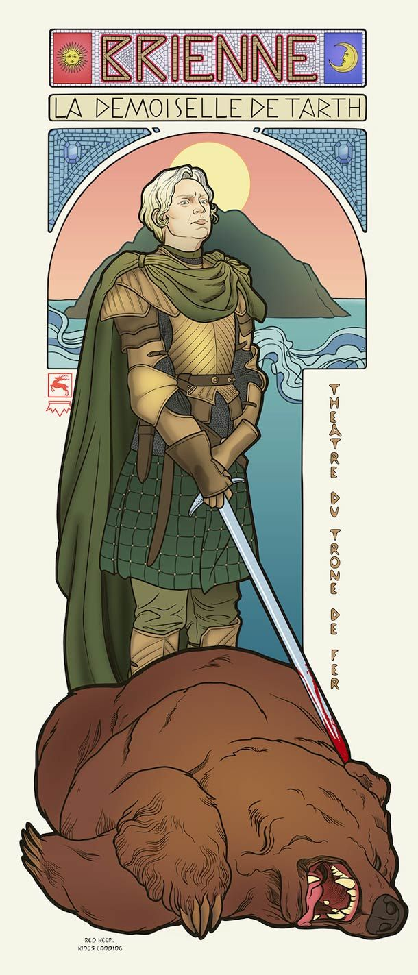The girls from Game Of Thrones TV show imagined as Art Nouveau goddesses by illustrator Elin Jonsson who takes the characters of Westeros in the graphic universe of Alfons Mucha.